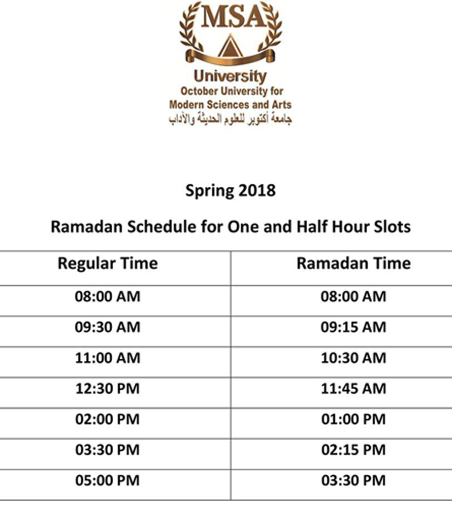 Ramadan schedule for one hour and half slots