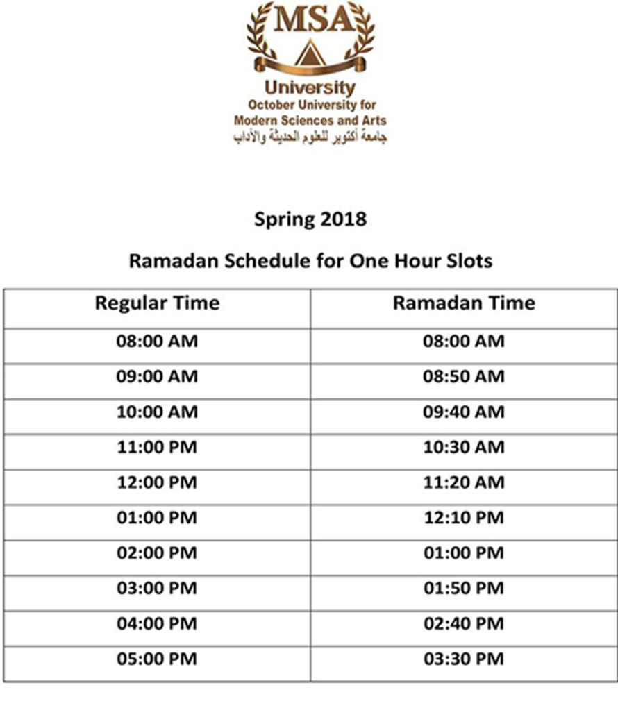 Ramadan schedule for one hour slots