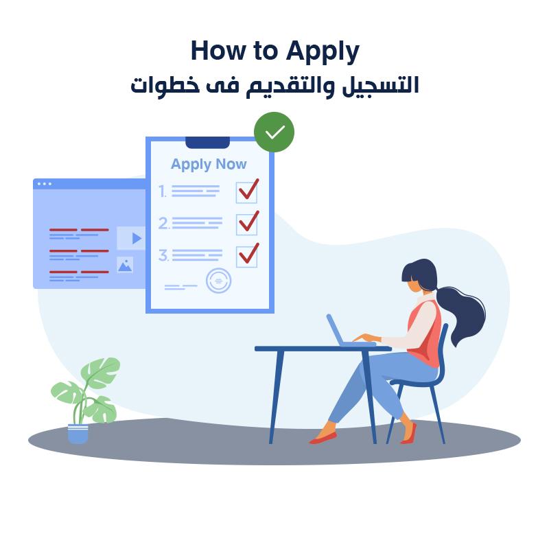 How to <strong>Apply</strong><br /> التسجيل والتقديم فى خطوات