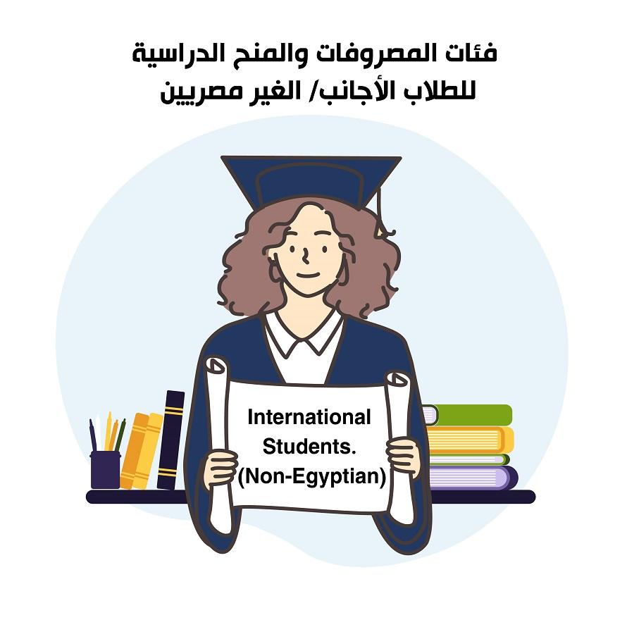 International Students <strong>(Non-Egyptian)</strong><br /> فئات المصروفات والمنح الدراسية للطلاب الأجانب - الغير مصريين