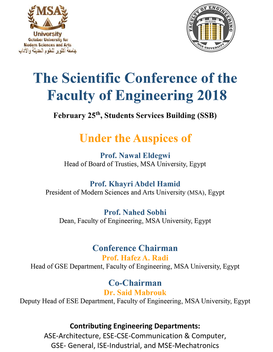 MSA University - The Scientific Conference of the  Faculty of Engineering 2018