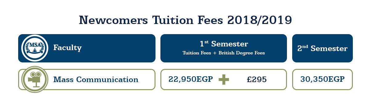 MSA University - Tuition Fees 2018 - 2019