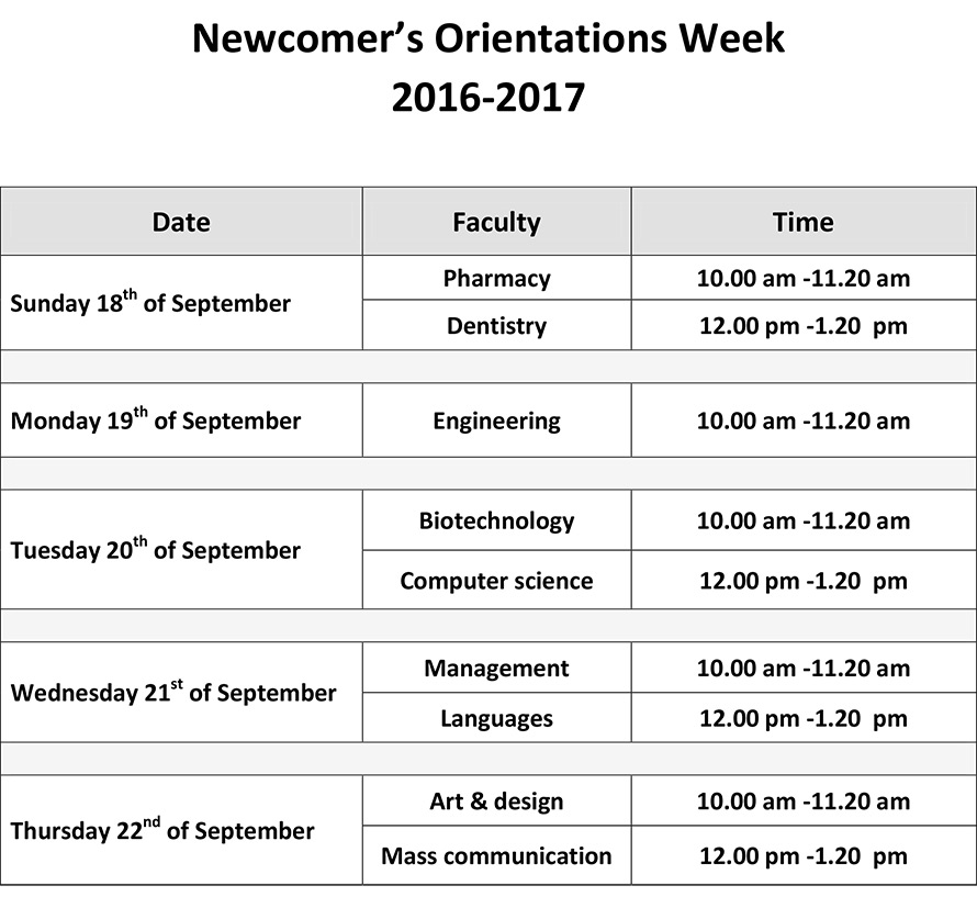 The Orientation Week 2016