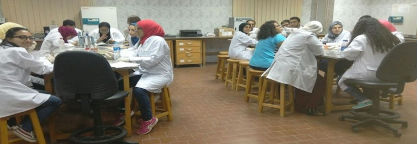 Biotechnology students at the Researches Complex of Cairo University